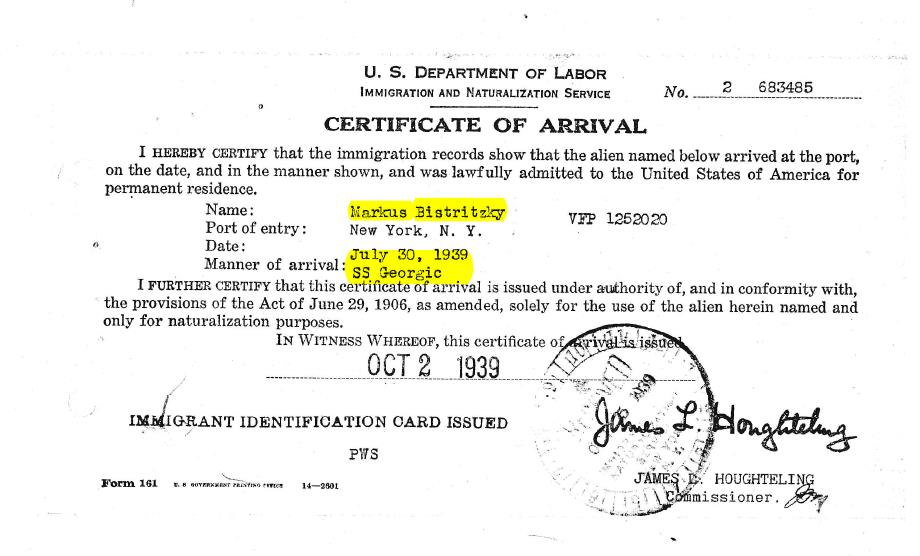 Bistritzky Certificate of Arrival